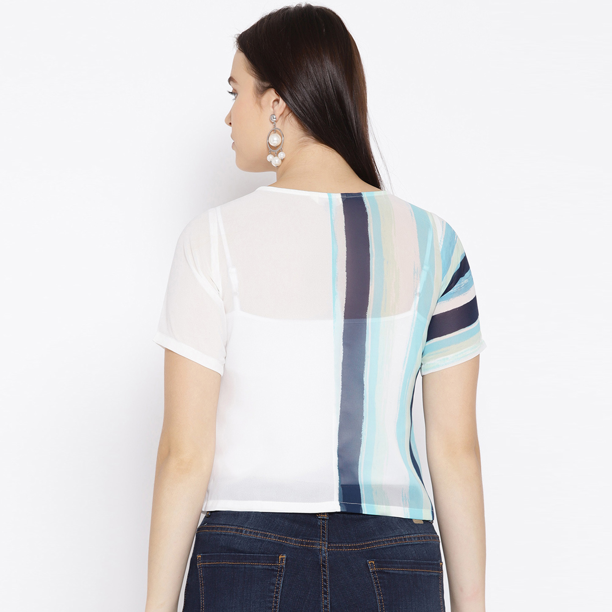 Exotic White Colored Casual Stripes Printed Crepe Top