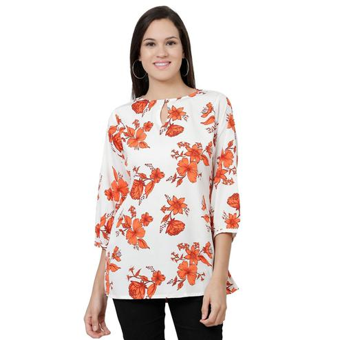 Sophisticated White Colored Casual Floral Printed Crepe Top