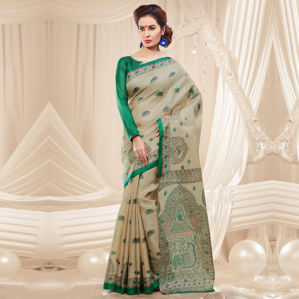 Beige - Green Traditional Printed Saree