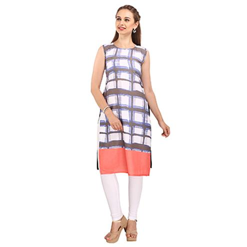White Digital Print Casual Wear Kurti
