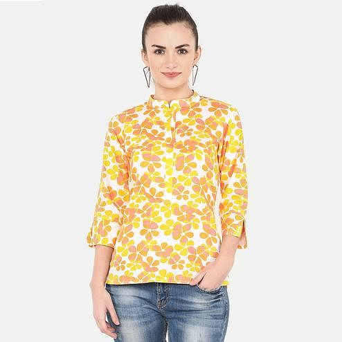 Energetic Yellow Colored Casual Floral Printed Cotton Top