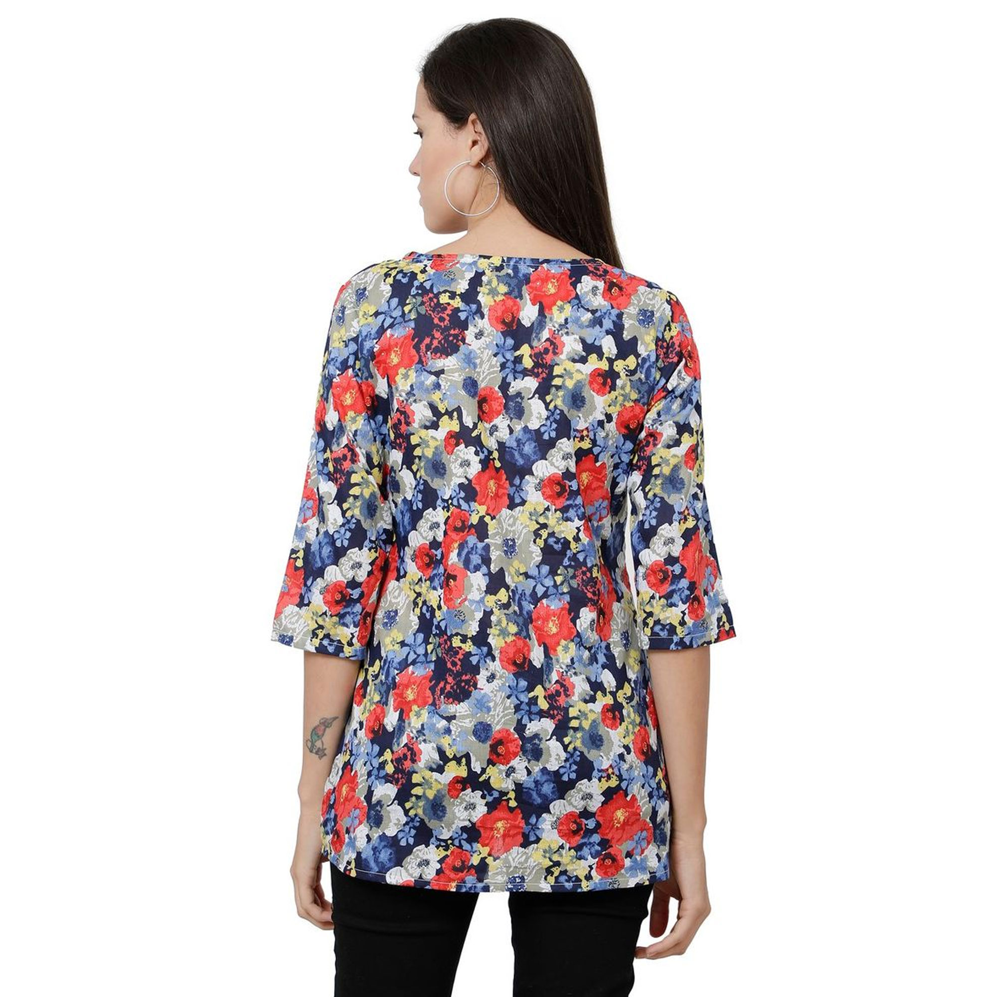 Exceptional Multi Colored Casual Floral Printed Cotton Top