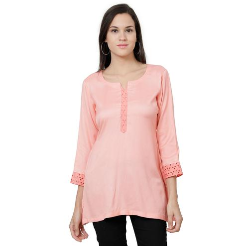 Mesmeric Pink Colored Casual Wear Rayon Top