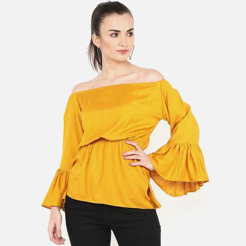 Demanding Mustard Yellow Colored Party Wear Off Shoulder Rayon Top