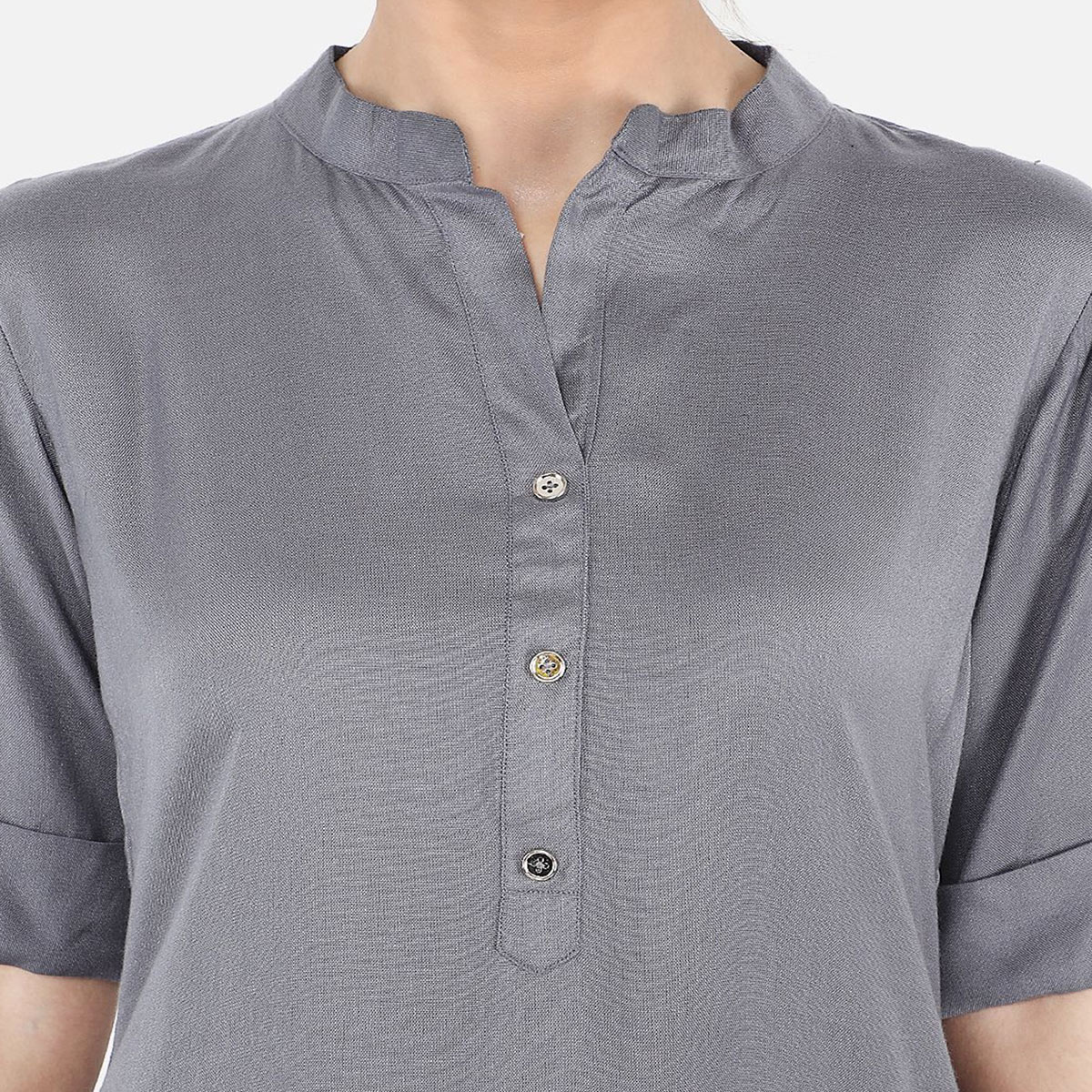 Magnetic Grey Colored Casual Wear Rayon Top