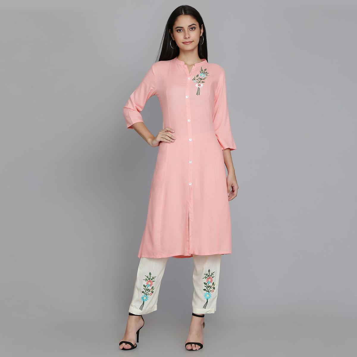 Exotic Pink Colored Casual Wear Embroidery Work Rayon Straight Kurti-Pant Set