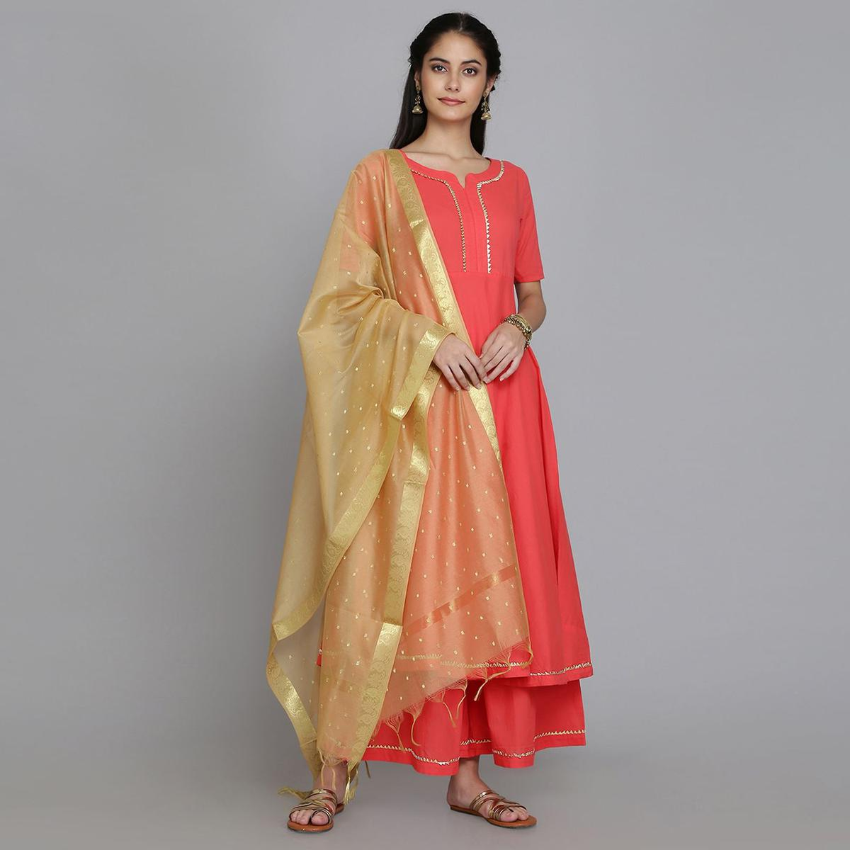 Radiant Coral Red Colored Casual Wear Embellishments Cambric Cotton A-line Kurti-Palazzo Set With Dupatta