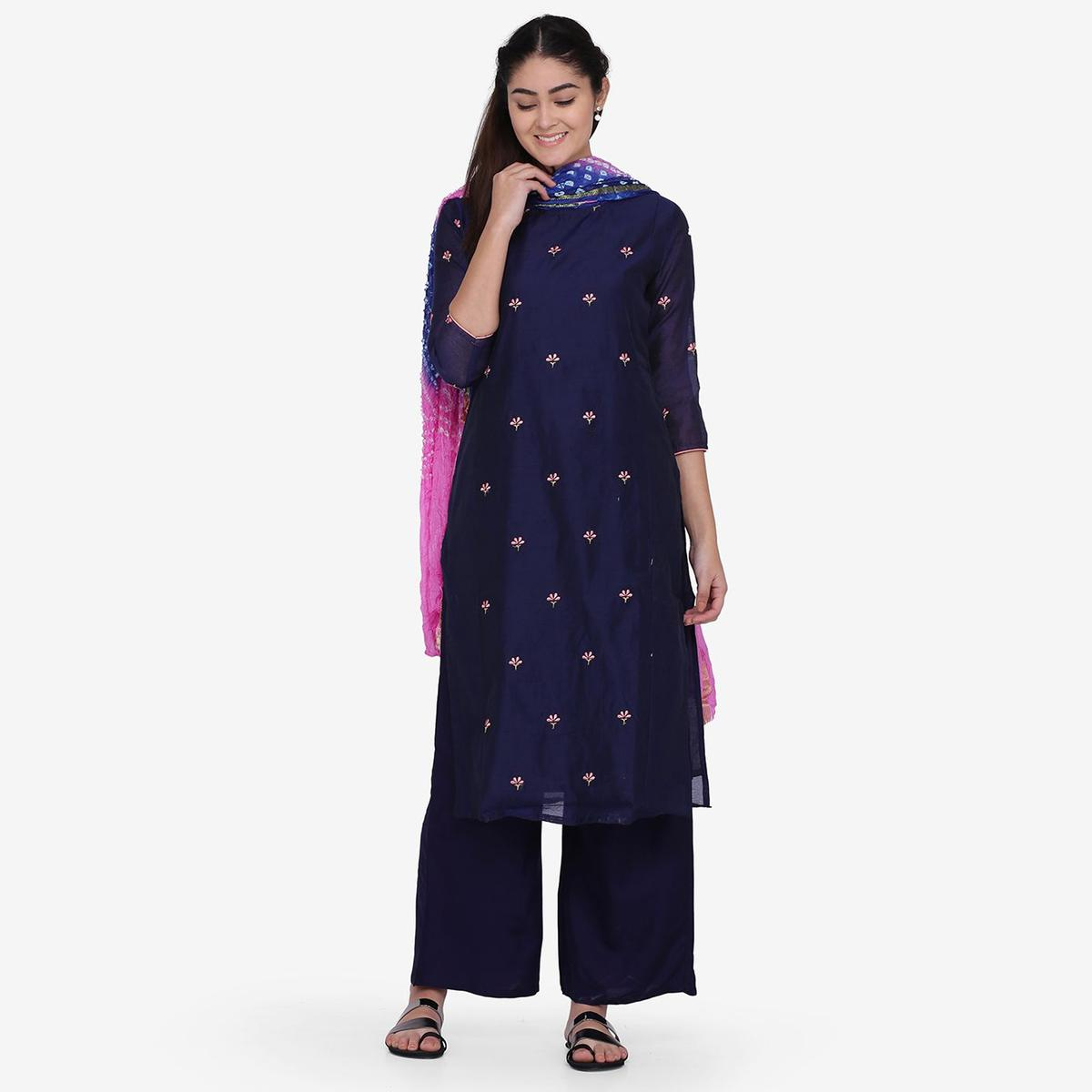 Unique Blue Colored Party Wear Embroidery Work Chanderi Silk Straight Kurti-Palazzo Set With Dupatta
