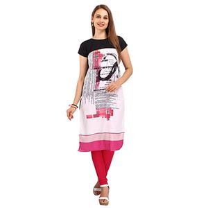 White - Pink Casual Wear Printed Kurti