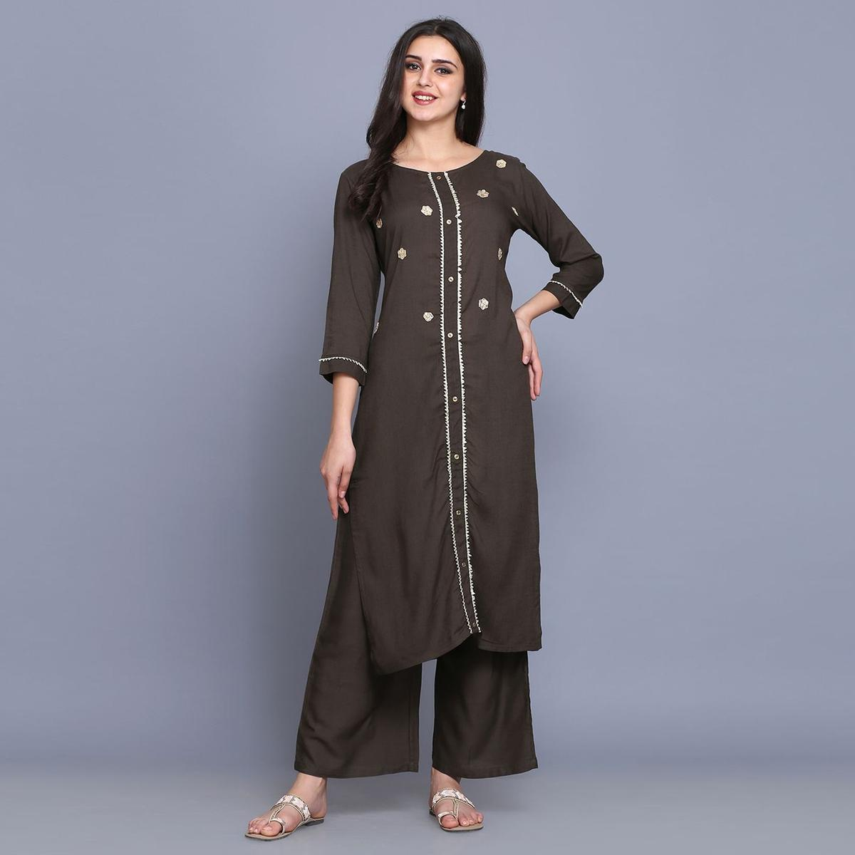 Magnetic Brown Colored Casual Wear Embroidery Work Rayon Straight Kurti-Palazzo Set