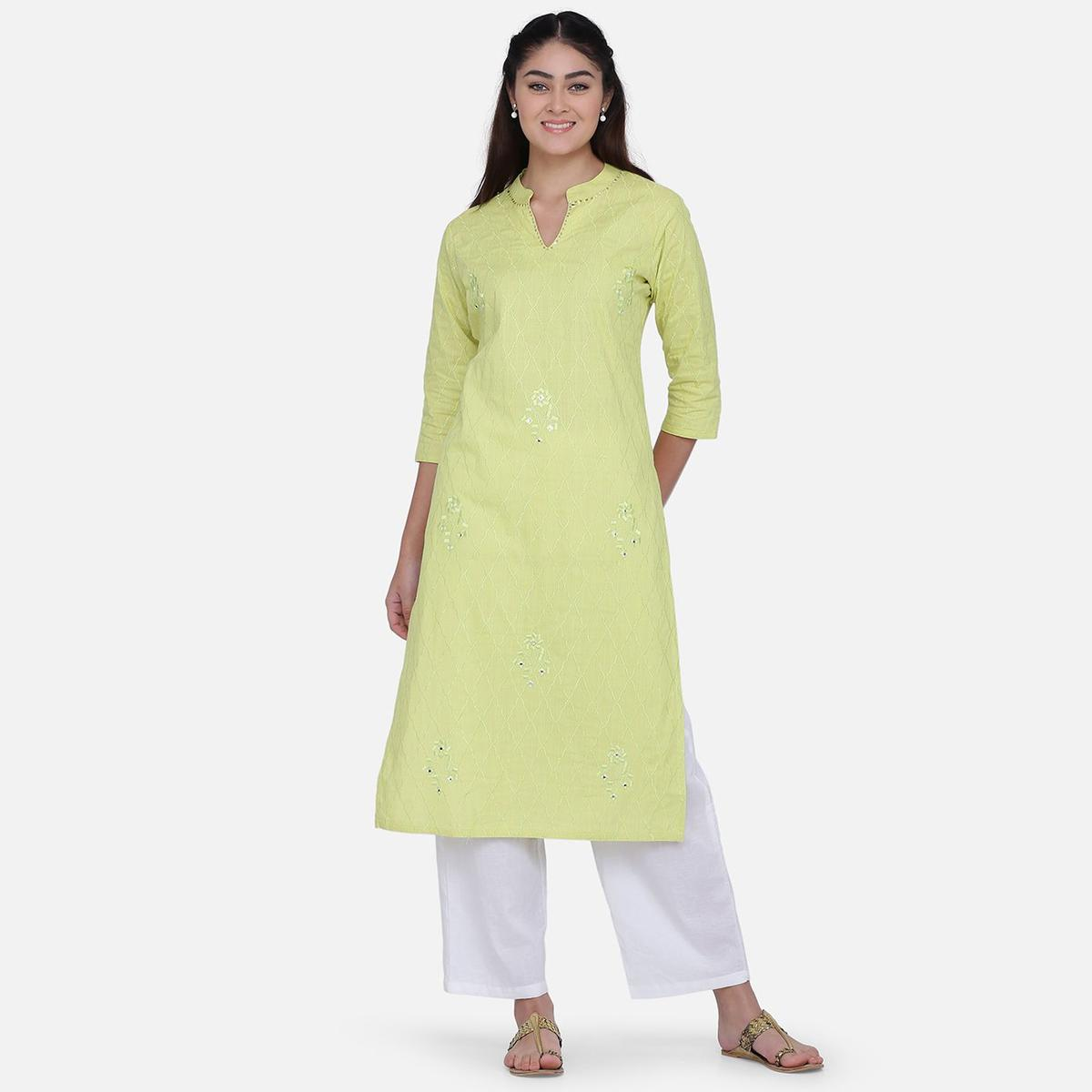 Marvellous Green Colored Casual Wear Embroidery Work Rayon Straight Kurti-Pant Set