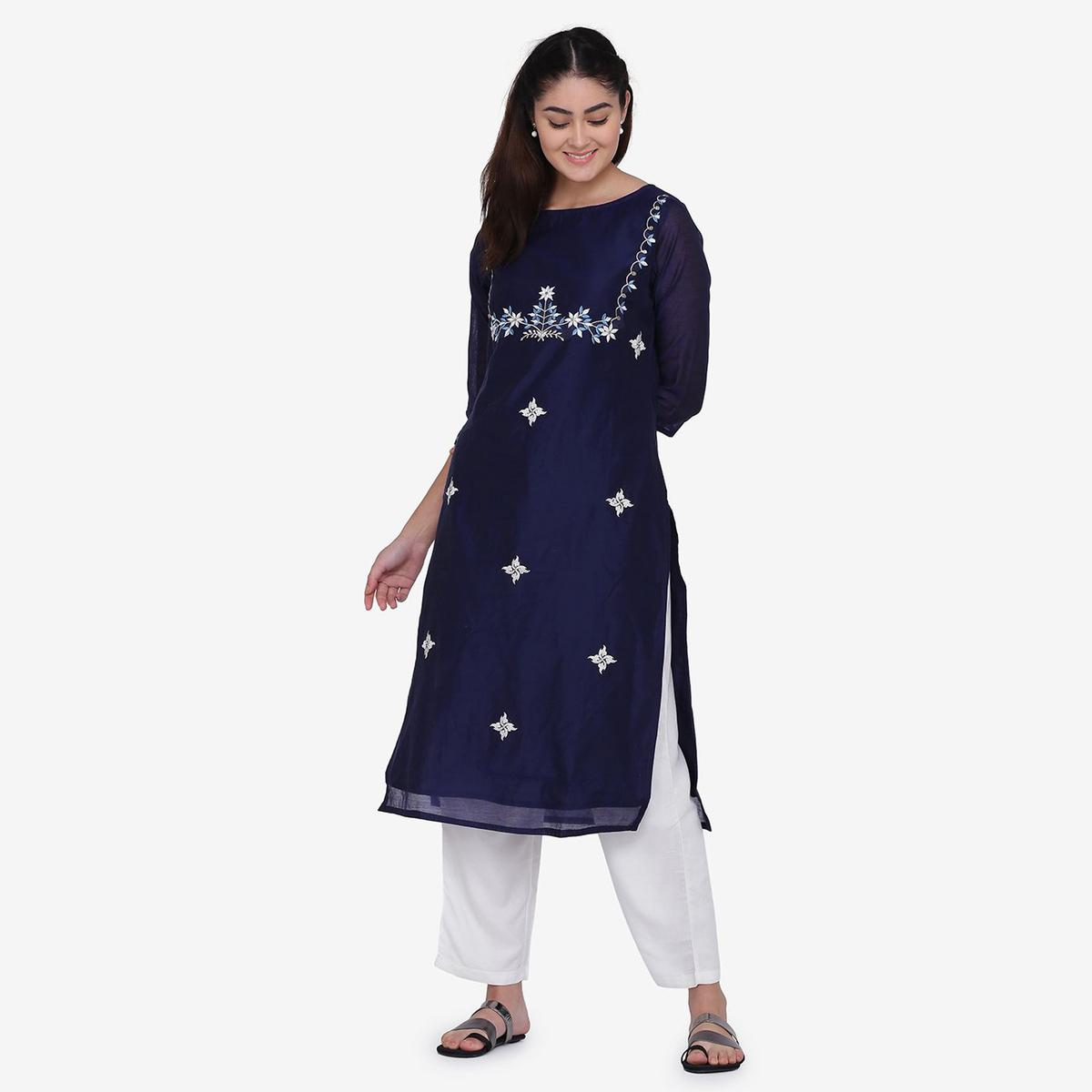 Alluring Blue Colored Party Wear Embroidery Work Chanderi Silk Straight Kurti-Palazzo Set