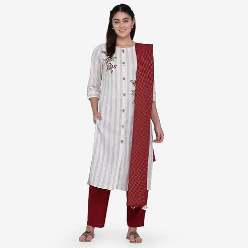 Flaunt Off White Colored Casual Wear Embroidery Work Cotton Straight Kurti-Pant Set With Dupatta