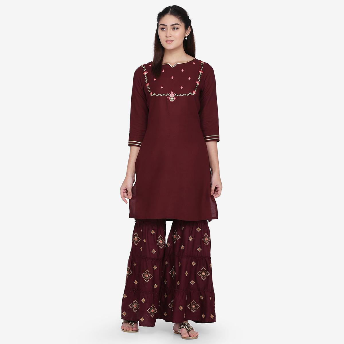 Adorable Wine Colored Party Wear Embroidery Work Rayon Straight Kurti-Palazzo Set