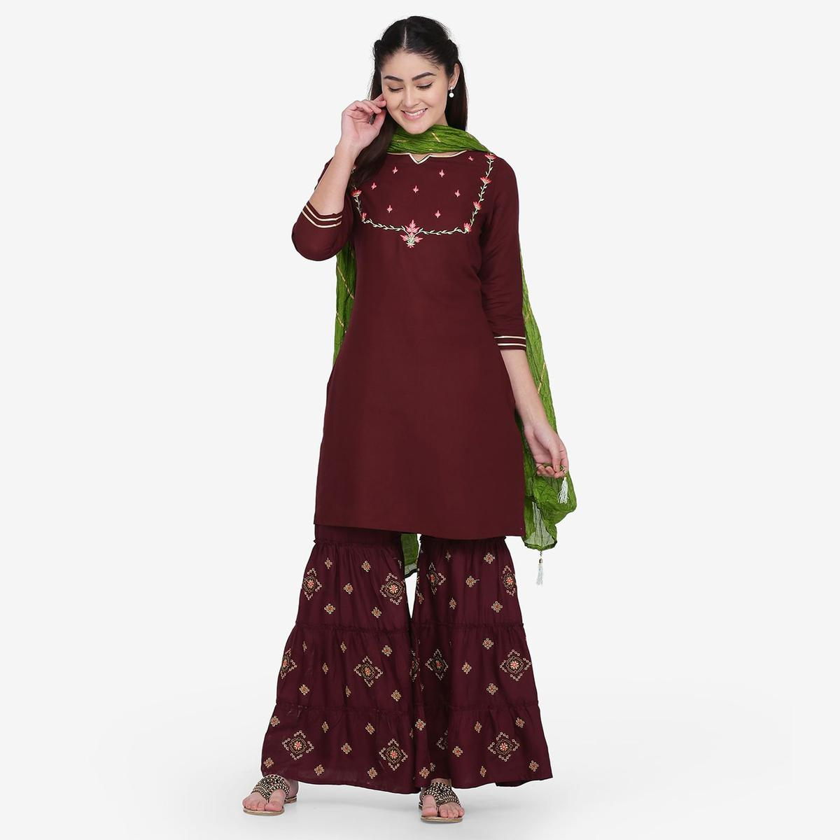 Glorious Wine Colored Party Wear Embroidery Work Rayon Straight Kurti-Palazzo Set With Dupatta