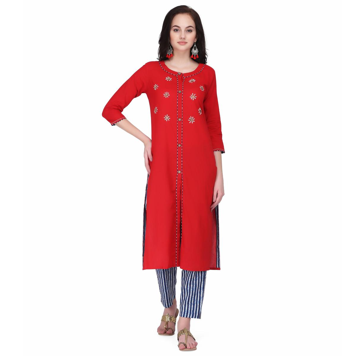 Graceful Red Colored Casual Wear Embroidery Work Cambric Cotton Straight Kurti-Pant Set
