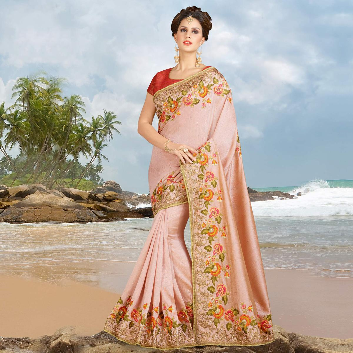 4a63835507639c Buy Rose Pink Parsi Embroidery Work Silk Saree online India, Best Prices,  Reviews - Peachmode