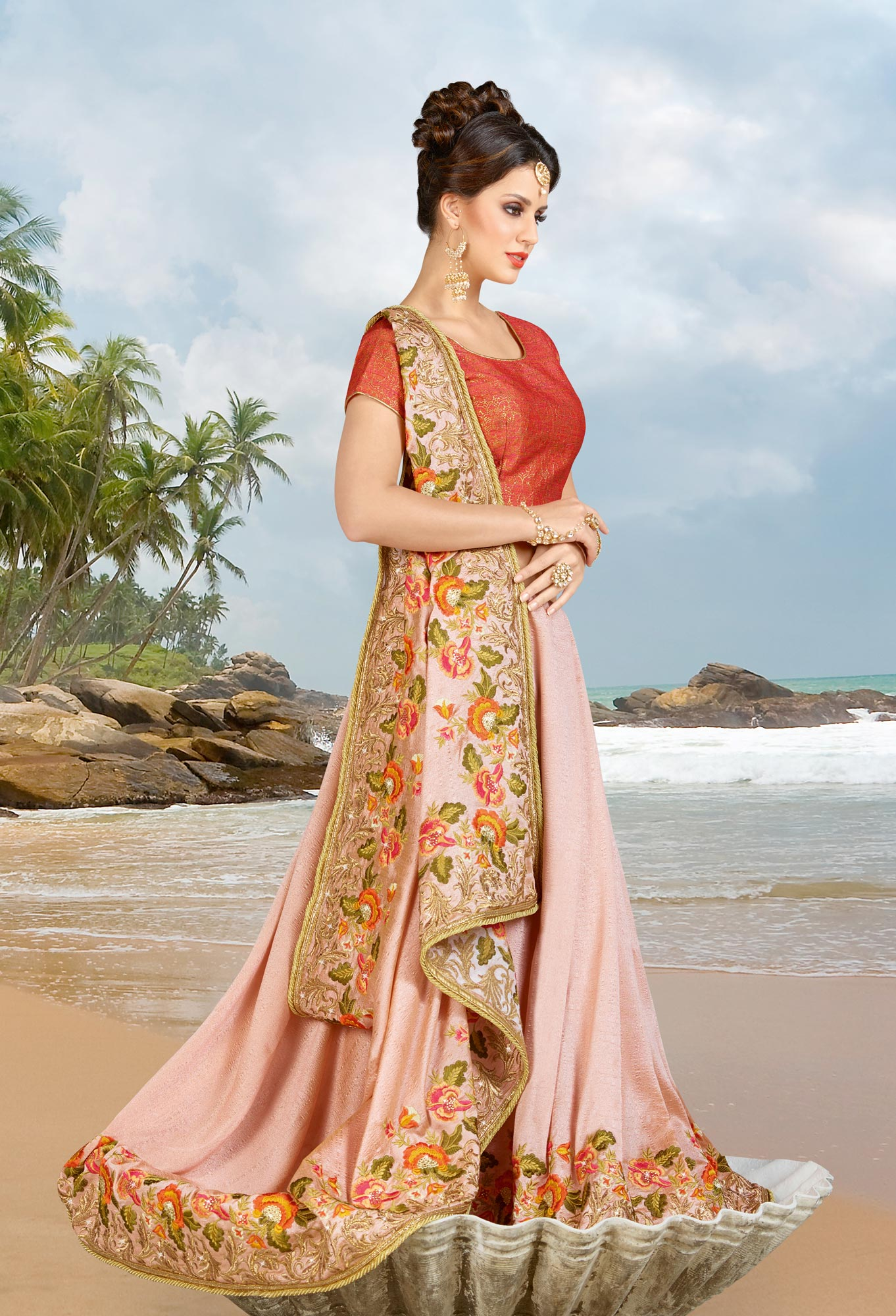 Rose Pink Parsi Embroidery Work Silk Saree