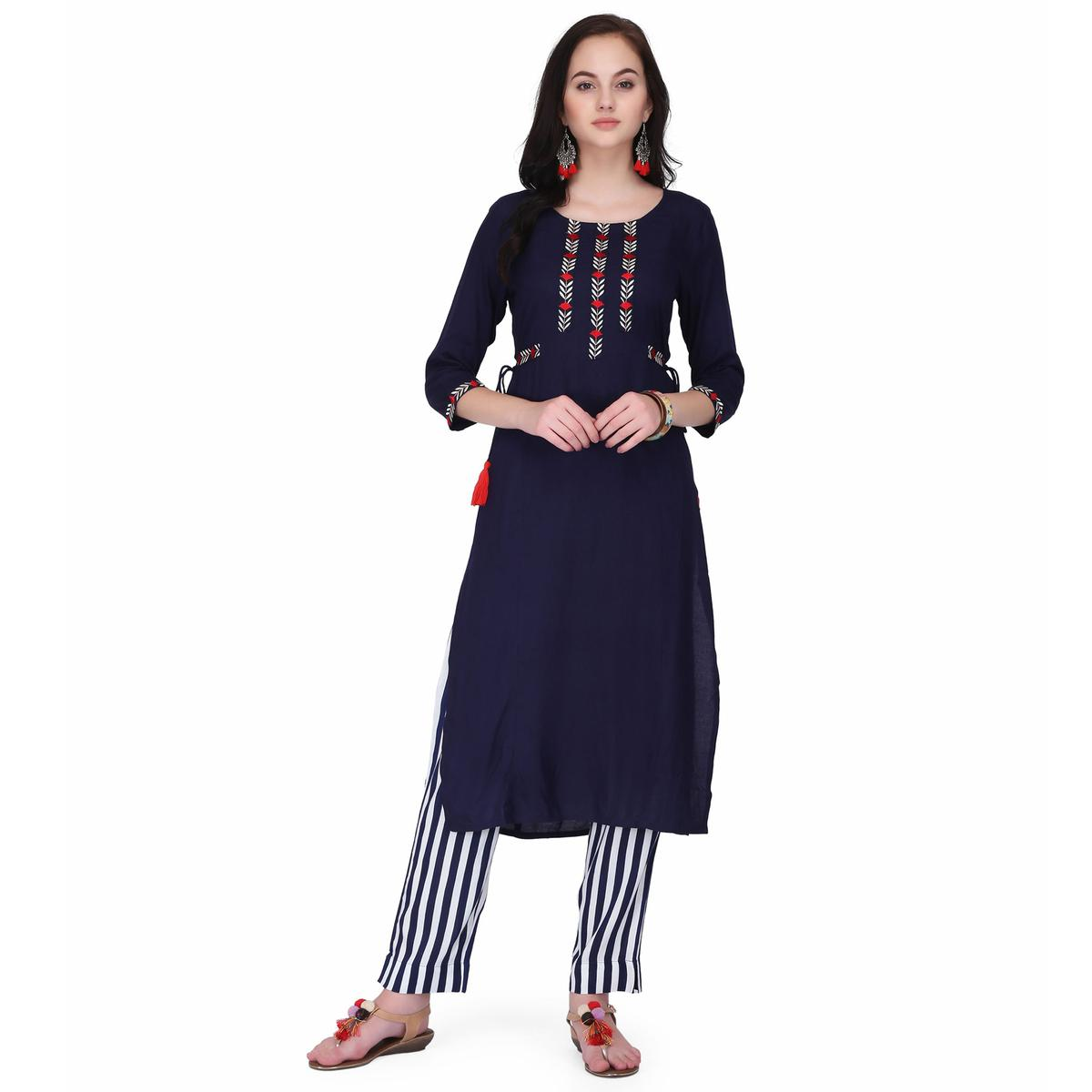 Delightful Blue Colored Casual Wear Embroidery Work Rayon Straight Kurti-Pant Set