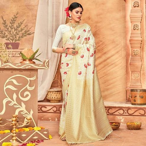 Radiant Cream Colored Festive Wear Woven Silk Blend Saree With Tassels