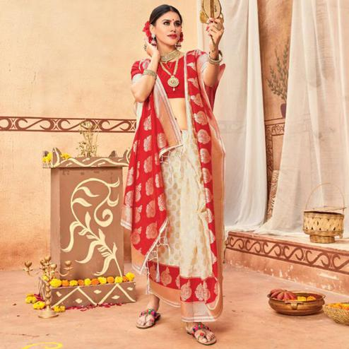 Pleasant Cream & Red Colored Festive Wear Woven Silk Blend Saree With Tassels