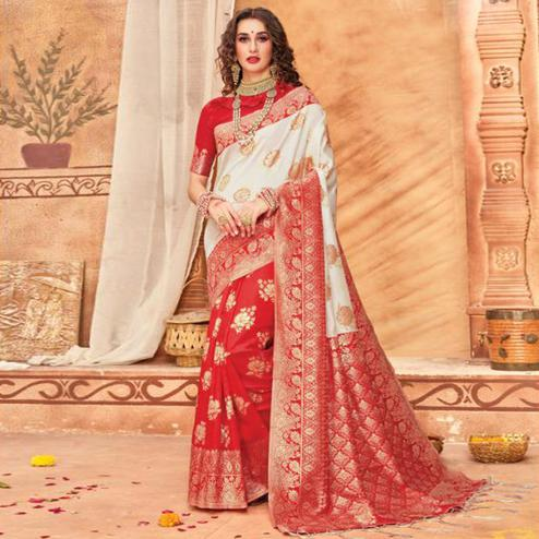 Opulent Cream & Red Colored Festive Wear Woven Silk Blend Saree With Tassels