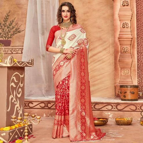 Energeti Cream & Red Colored Festive Wear Woven Silk Blend Saree With Tassels