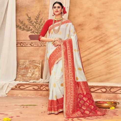 Glowing Cream & Red Colored Festive Wear Woven Silk Blend Saree With Tassels