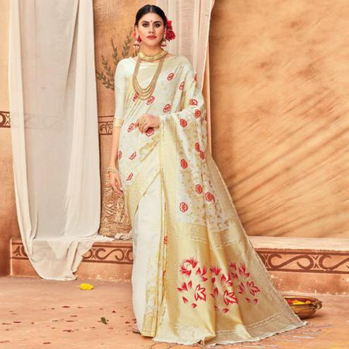 Exceptional Cream Colored Festive Wear Woven Silk Blend Saree With Tassels