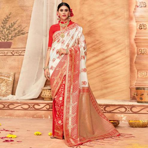 Gleaming Cream & Red Colored Festive Wear Woven Silk Blend Saree With Tassels