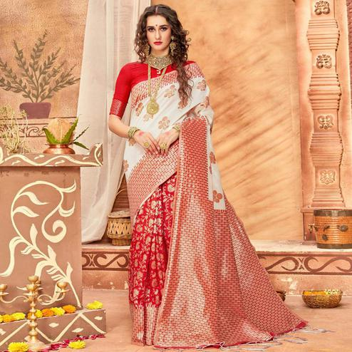 Mesmeric Cream & Red Colored Festive Wear Woven Silk Blend Saree With Tassels
