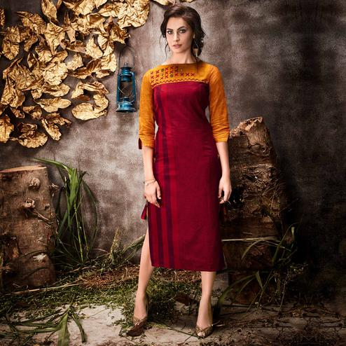 Exceptional Red Colored Partywear Stripes Woven-Embroidered Cotton Kurti