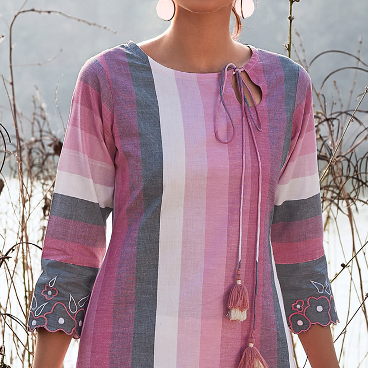 Gleaming Pink Colored Partywear Stripes Woven-Embroidered Cotton Kurti
