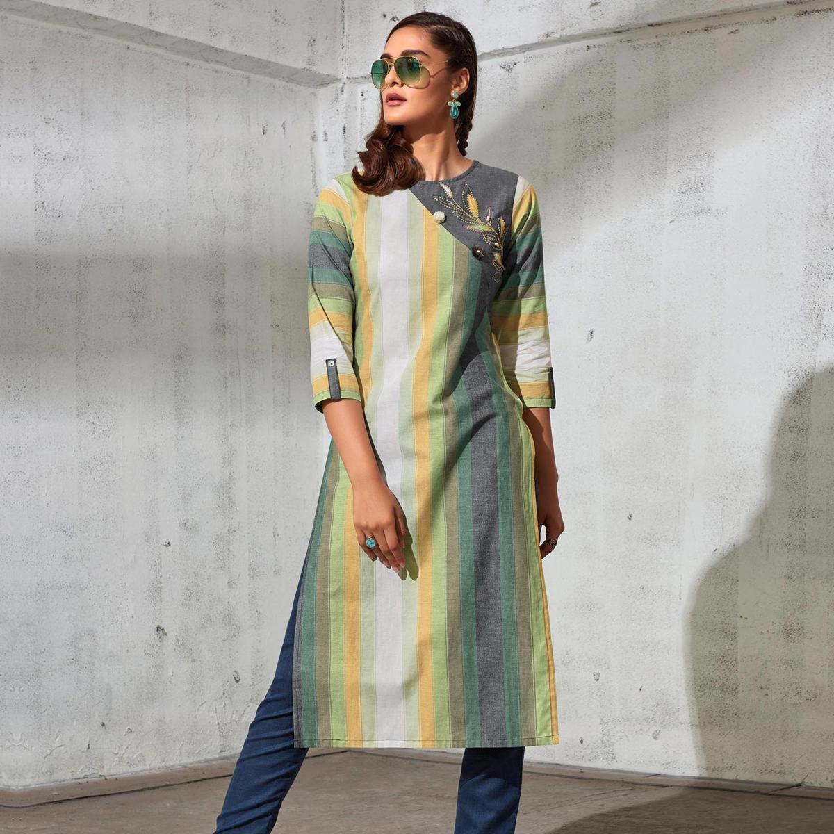 Mesmeric Multi Colored Partywear Stripes Woven-Embroidered Cotton Kurti