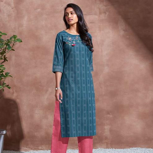 Unique Blue Colored Partywear Woven-Embroidered Cotton Kurti