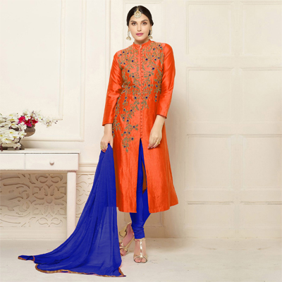 Orange - Blue Embroidered Cotton Suit
