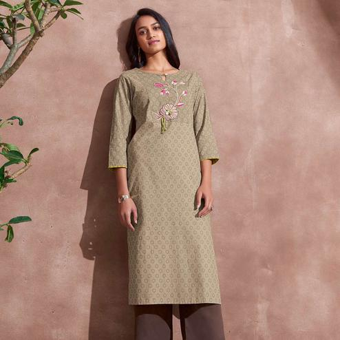 Demanding Beige Colored Partywear Woven-Embroidered Cotton Kurti