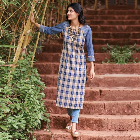 Hypnotic Blue Colored Partywear Checkered Woven-Embroidered Cotton Kurti