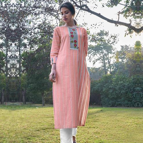 Preferable Pink Colored Partywear Stripes Woven-Embroidered Cotton Kurti