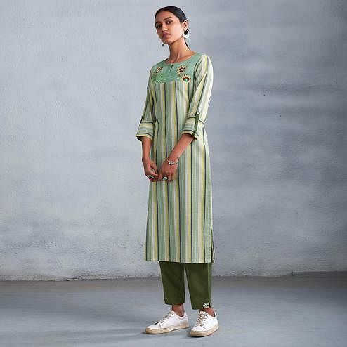 Flamboyant Green Colored Partywear Stripes Woven-Embroidered Cotton Kurti-Pant Set