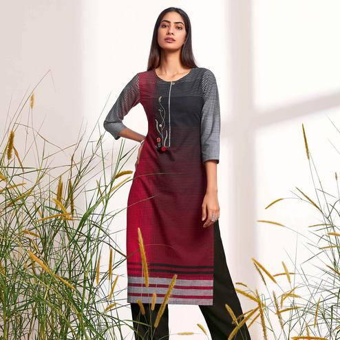 Alluring Red-Black Colored Partywear Stripes Woven-Embroidered Cotton Kurti
