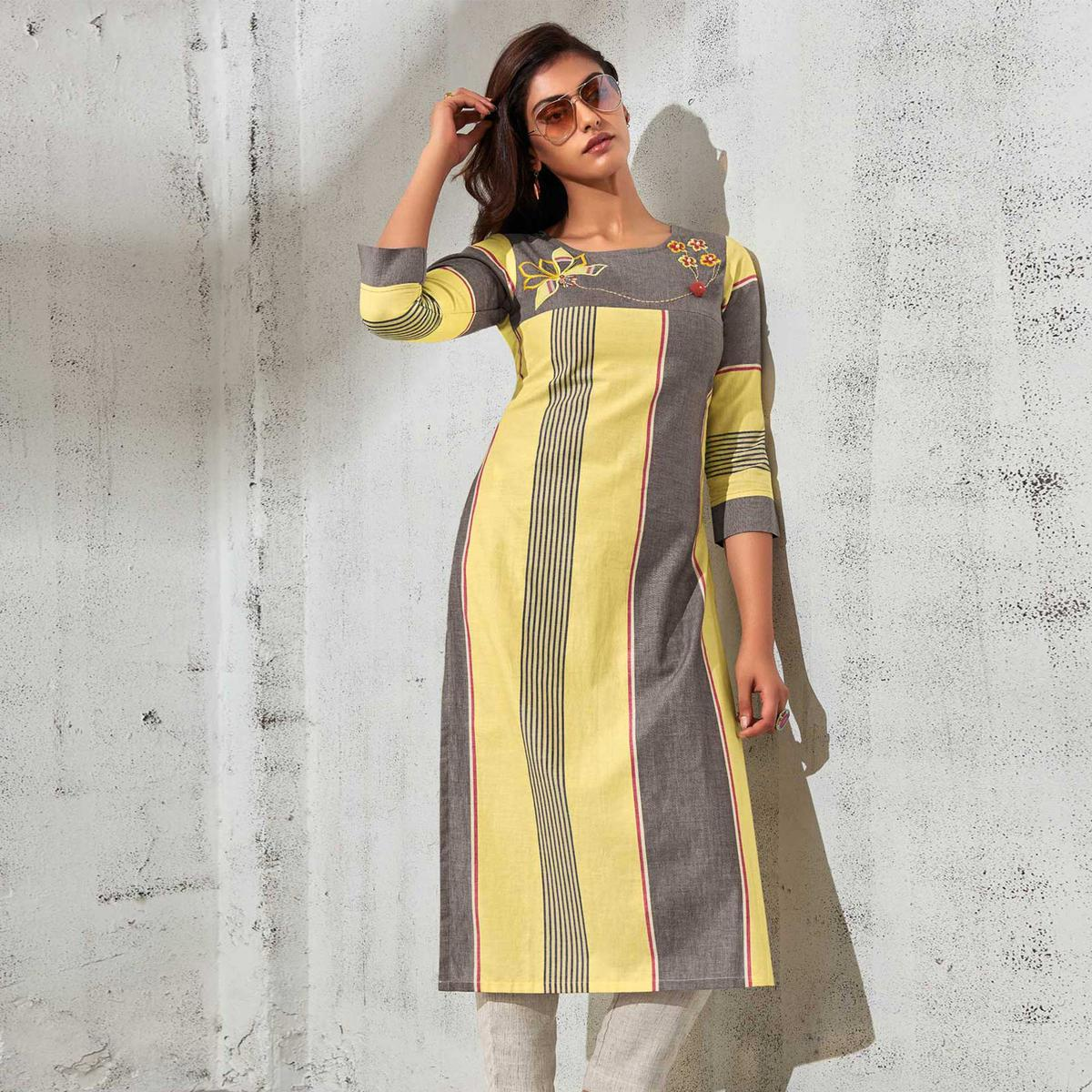 Sensational Yellow-Grey Colored Partywear Stripes Woven-Embroidered Cotton Kurti