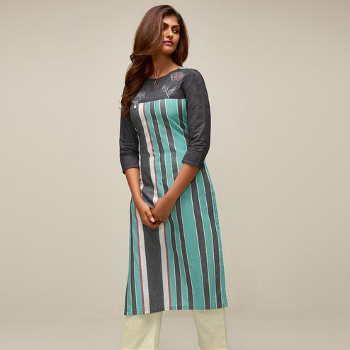 Flaunt Blue-Grey Colored Partywear Stripes Woven-Embroidered Cotton Kurti