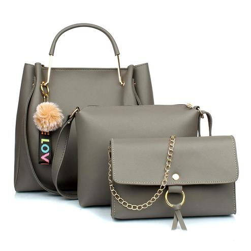 TMN Grey Combo Of Handbag With Sling Bag And Golden Chain Bag