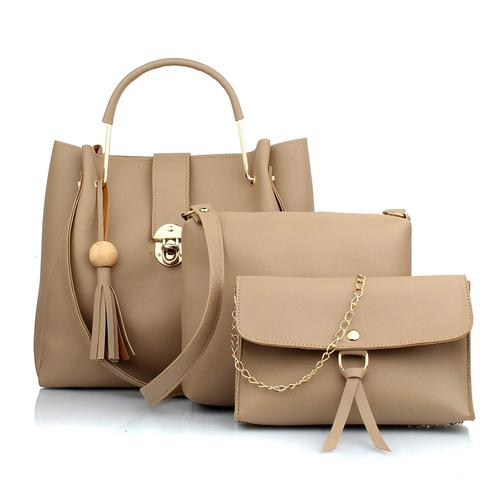 TMN Cream Combo Of Handbag With Sling Bag And Golden Chain Bag