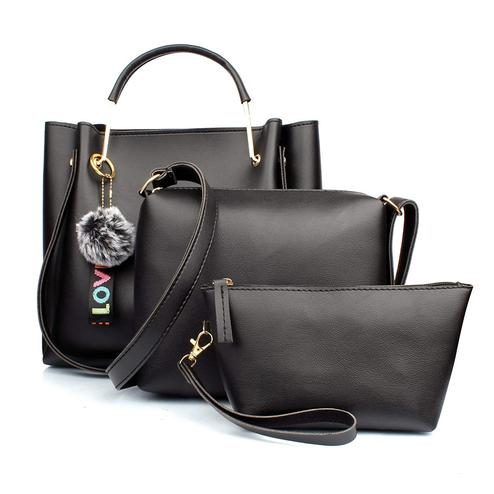 TMN Black Combo Of Handbag With Sling Bag And Cosmetic Pouch