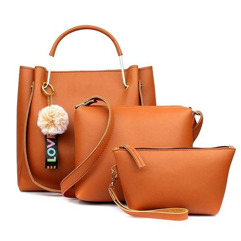 TMN Brown Combo Of Handbag With Sling Bag And Cosmetic Pouch