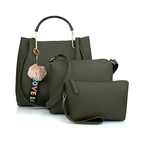 TMN Green Combo Of Handbag With Sling Bag And Cosmetic Pouch