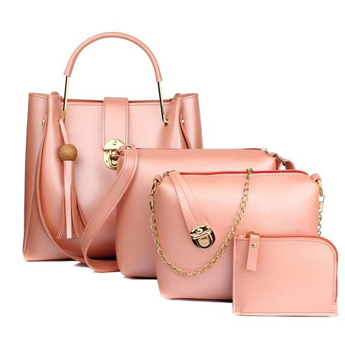 TMN Pink Combo Of Handbag With Sling Bag And Golden Chain Bag And Coin  Pouch
