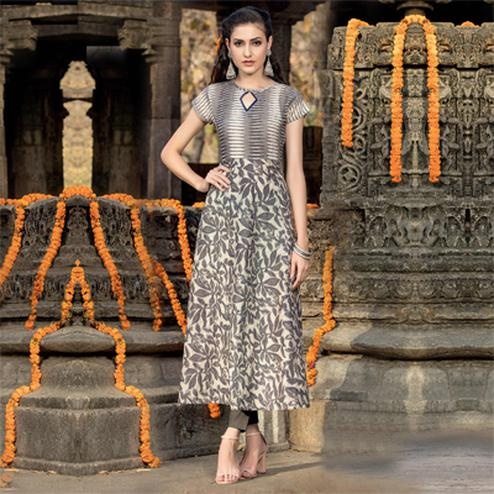 Beige - Grey Printed Cotton Kurti
